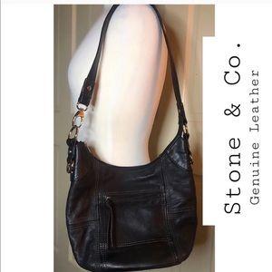 Stone & Co Black Genuine Leather Handbag Purse